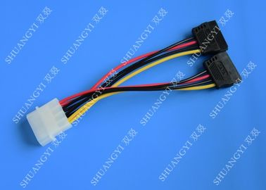 IDE Flat Cable Harness Assembly 4 Pin to 2 x 15 Pin SATA To Serial ATA SATA Connector
